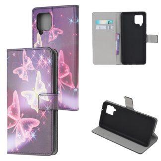 Plånboksfodral Samsung Galaxy A12 - Lila / Fjärilar