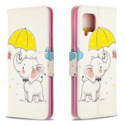 Plånboksfodral Samsung Galaxy A42 - Elefant med Paraply