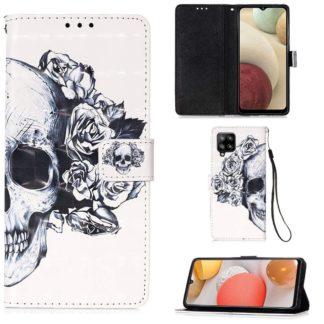 Plånboksfodral Samsung Galaxy A42 - Döskalle / Rosor