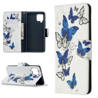 Plånboksfodral Samsung Galaxy A12 - Blåa och Vita Fjärilar