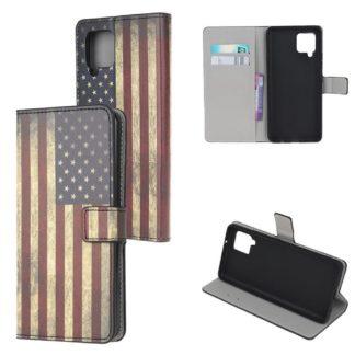 Plånboksfodral Samsung Galaxy A12 - Flagga USA