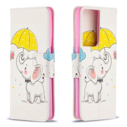 Plånboksfodral Samsung Galaxy S21 Ultra – Elefant med Paraply
