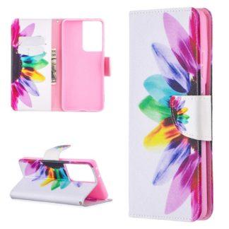 Plånboksfodral Samsung Galaxy S21 Ultra – Färgglad Blomma