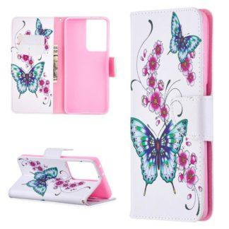Plånboksfodral Samsung Galaxy S21 Ultra – Fjärilar och Blommor