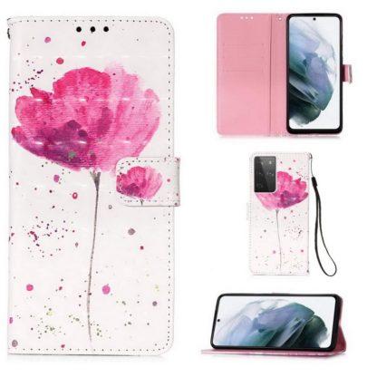 Plånboksfodral Samsung Galaxy S21 Ultra – Rosa Blomma