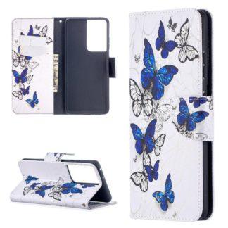 Plånboksfodral Samsung Galaxy S21 Ultra – Blåa och Vita Fjärilar