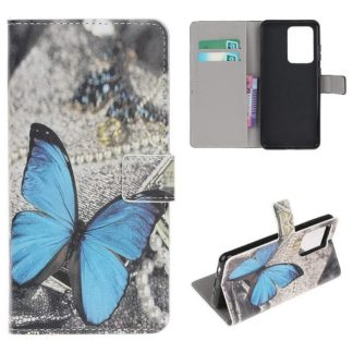 Plånboksfodral Samsung Galaxy S21 Ultra - Blå Fjäril