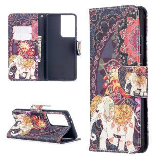 Plånboksfodral Samsung Galaxy S21 Ultra – Indiskt / Elefant
