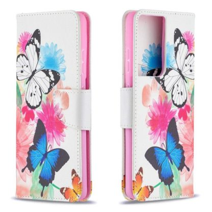 Plånboksfodral Samsung Galaxy S21 Ultra – Färgglada Fjärilar