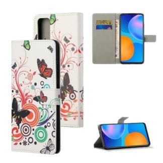 Plånboksfodral Huawei P Smart 2021 - Vit med Fjärilar