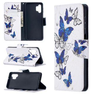 Plånboksfodral Samsung Galaxy A32 5G – Blåa och Vita Fjärilar
