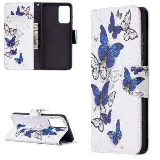 Plånboksfodral Samsung Galaxy A52 – Blåa och Vita Fjärilar
