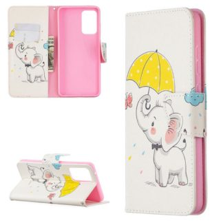 Plånboksfodral Samsung Galaxy A52 – Elefant med Paraply