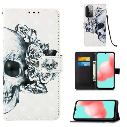 Plånboksfodral Samsung Galaxy A52 – Döskalle / Rosor