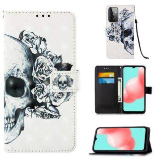 Plånboksfodral Samsung Galaxy A72 – Döskalle / Rosor