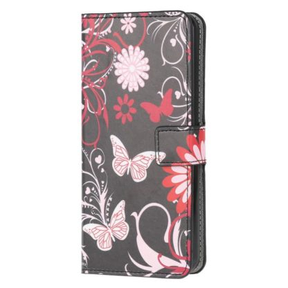 Plånboksfodral Samsung Galaxy A72 - Svart med Fjärilar