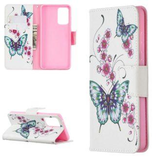Plånboksfodral Samsung Galaxy A72 – Fjärilar och Blommor