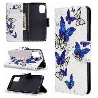 Plånboksfodral Samsung Galaxy A02s – Blåa och Vita Fjärilar
