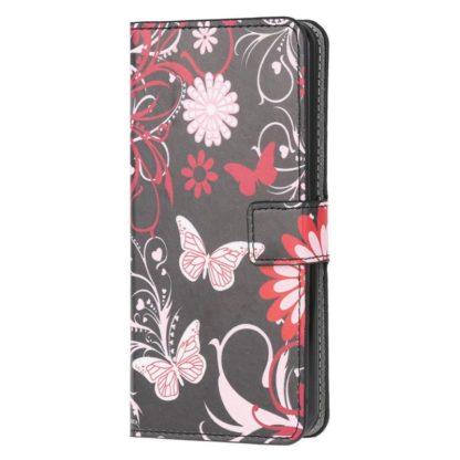 Plånboksfodral Samsung Galaxy A02s - Svart med Fjärilar
