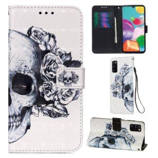 Plånboksfodral Samsung Galaxy A02s – Döskalle / Rosor