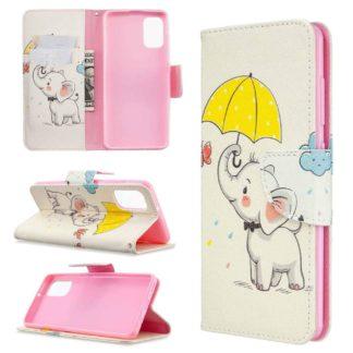 Plånboksfodral Samsung Galaxy A02s – Elefant med Paraply