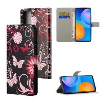 Plånboksfodral Samsung Galaxy S21 - Svart med Fjärilar