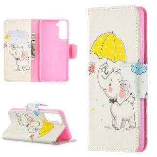 Plånboksfodral Samsung Galaxy S21 – Elefant med Paraply