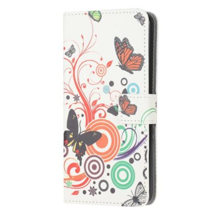 Plånboksfodral Samsung Galaxy A32 5G - Vit med Fjärilar