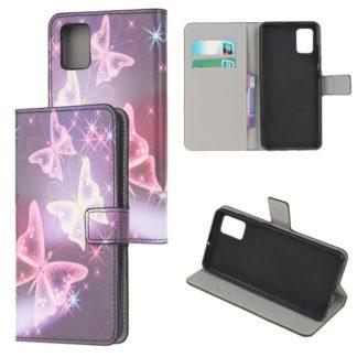 Plånboksfodral Samsung Galaxy A02s - Lila / Fjärilar