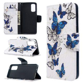 Plånboksfodral Samsung Galaxy S20 FE - Blåa och Vita Fjärilar