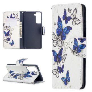 Plånboksfodral Samsung Galaxy S21 – Blåa och Vita Fjärilar