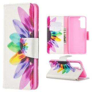 Plånboksfodral Samsung Galaxy S21 – Färgglad Blomma