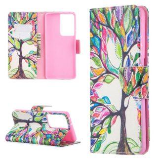 Plånboksfodral Samsung Galaxy S21 Ultra – Färgglatt Träd