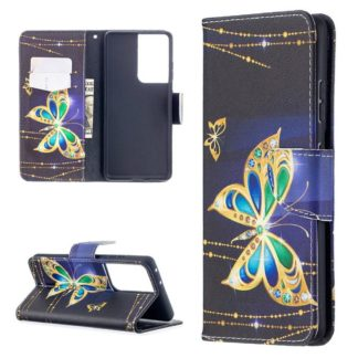 Plånboksfodral Samsung Galaxy S21 Ultra – Guldfjäril